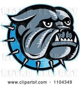 Vector Clip Art of Retro Woodcut Styled Bulldog Head with a Spiked Blue Collar by Patrimonio