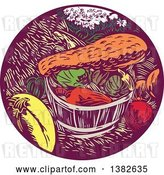 Vector Clip Art of Retro Woodcut Styled Bushel and Harvest of Squash and Pumpkin by Patrimonio