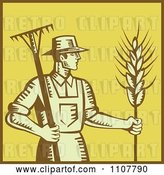Vector Clip Art of Retro Woodcut Styled Farmer with a Rake and Wheat over Yellow with a Brown Border by Patrimonio