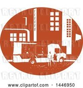 Vector Clip Art of Retro Woodcut Styled Food Truck Serving Customers in a City Street by Patrimonio