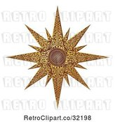 Vector Clip Art of Retro Woodcut Styled Golden Christmas Star by AtStockIllustration