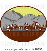 Vector Clip Art of Retro Woodcut Styled Guy Towing Away a Family Car in an Oval with Mountains by Patrimonio