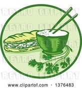 Vector Clip Art of Retro Woodcut Styled Meal of Banh Mi Rice and a Meat Sandwich in a Circle by Patrimonio