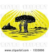 August 14th, 2018: Vector Clip Art of Retro Woodcut Styled Scene of Adam and Eve by a Snake in an Apple Tree Under Sun Rays by Patrimonio