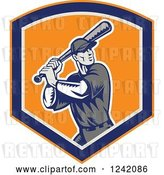 Vector Clip Art of Retro Woodcut Swinging Baseball Player Guy in a Shield by Patrimonio