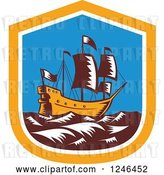 August 14th, 2018: Vector Clip Art of Retro Woodcut Tall Galleon Ship at Sea in a Shield by Patrimonio