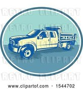 Vector Clip Art of Retro Woodcut Tipper Dump Pick up Truck with an Open Box Bed by Patrimonio