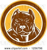 Vector Clip Art of Retro Woodcut Tough Pitbull Guard Dog in a Yellow Brown and White Circle by Patrimonio