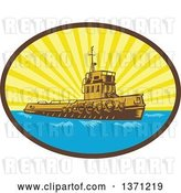Vector Clip Art of Retro Woodcut Tugboat in a Sunburst Oval by Patrimonio
