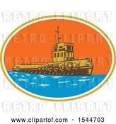 Vector Clip Art of Retro Woodcut Tugboat in an Oval by Patrimonio