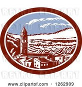 Vector Clip Art of Retro Woodcut View of the Church Belfry Tower in Tuscany, Italy by Patrimonio