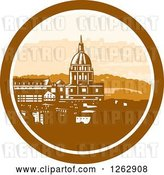 Vector Clip Art of Retro Woodcut View of the Gold Chapel Dome of Les Invalides in Paris, France by Patrimonio