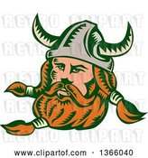 Vector Clip Art of Retro Woodcut Viking Norseman Warrior with a Long Beard and Horned Helmet by Patrimonio
