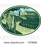 Vector Clip Art of Retro Woodcut Vineyard, Farm and Barn in a Green and Blue Oval by Patrimonio