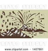 Vector Clip Art of Retro Woodcut Volcano Erupting on Green by Patrimonio