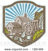Vector Clip Art of Retro Woodcut Watermill House at Sunset in a Blue Brown and White Shield by Patrimonio