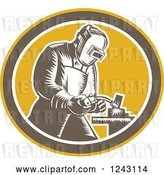 Vector Clip Art of Retro Woodcut Welder in an Oval by Patrimonio