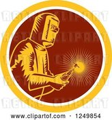 Vector Clip Art of Retro Woodcut Welder with a Torch in a Maroon and Yellow Circle by Patrimonio