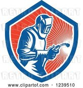 Vector Clip Art of Retro Woodcut Welder Worker in a Red Sunny Shield by Patrimonio