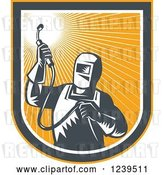 Vector Clip Art of Retro Woodcut Welder Worker in an Orange Sunny Shield by Patrimonio