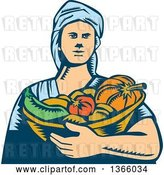 Vector Clip Art of Retro Woodcut White Female Farmer Holding a Basket of Harvest Vegetables by Patrimonio