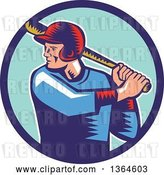 Vector Clip Art of Retro Woodcut White Male Baseball Player Athlete Batting in a Blue Circle by Patrimonio