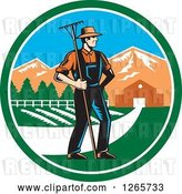 Vector Clip Art of Retro Woodcut White Male Farmer with a Rake on a Farm Inside a Circle by Patrimonio