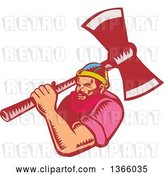 Vector Clip Art of Retro Woodcut White Male Lumberjack Holding an Axe over His Shoulder by Patrimonio