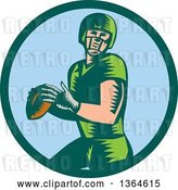 Vector Clip Art of Retro Woodcut White Male Quarterback American Football Player Throwing in a Bgreen and Blue Circle by Patrimonio