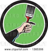 Vector Clip Art of Retro Woodcut White Painters Hand Holding a Paintbrush in a Black White and Green Circle by Patrimonio