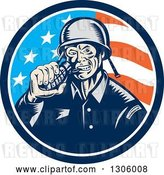 Vector Clip Art of Retro Woodcut World War Two Soldier Biting a Grenade in an American Flag Circle by Patrimonio