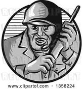 Vector Clip Art of Retro Woodcut World War Two Soldier Holding a Field Radio in a Gray and Navy Blue Circle by Patrimonio