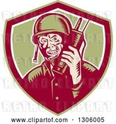 Vector Clip Art of Retro Woodcut World War Two Soldier Talking on a Field Radio in a Green Maroon and White Shield by Patrimonio