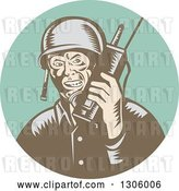 Vector Clip Art of Retro Woodcut World War Two Soldier Talking on a Field Radio in a Turquoise Circle by Patrimonio