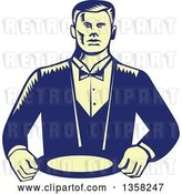Vector Clip Art of Retro Woodcut Yellow and Blue Male Waiter Wearing a Cravat and Holding a Plate by Patrimonio