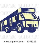 Vector Clip Art of Retro Woodcut Yellow and Blue RV Camper Van by Patrimonio