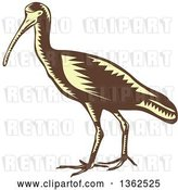Vector Clip Art of Retro Woodcut Yellow and Brown Crane Bird by Patrimonio