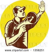 Vector Clip Art of Retro Woodcut Yellow and Brown Male Worker Holding up a Hand and Using a Megaphone in a Yellow Circle by Patrimonio