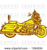 Vector Clip Art of Retro Woodcut Yellow and Brown Motorcycle by Patrimonio