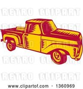 Vector Clip Art of Retro Woodcut Yellow and Red Pickup Truck by Patrimonio