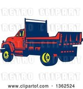 Vector Clip Art of Retro Woodcut Yellow, Blue and Red Flatbed Truck by Patrimonio