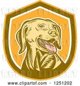 Vector Clip Art of Retro Woodcut Yellow Labrador Retriever Dog in a Brown and Orange Shield by Patrimonio