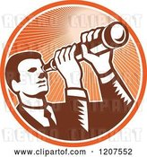 Vector Clip Art of Retro Woodut Business Man Looking Through a Telescope in an Orange Ray Circle by Patrimonio