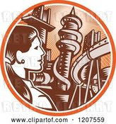 Vector Clip Art of Retro Woodut Business Woman and City in an Orange Ray Circle by Patrimonio