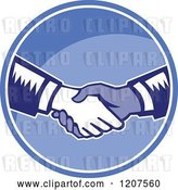Vector Clip Art of Retro Woodut Men Shaking Hands in a Blue Circle by Patrimonio