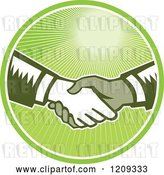 Vector Clip Art of Retro Woodut Men Shaking Hands in a Green Sunny Circle by Patrimonio