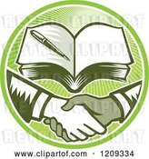 Vector Clip Art of Retro Woodut Men Shaking Hands Under a Book in a Green Sunny Circle by Patrimonio