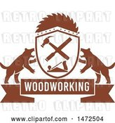 Vector Clip Art of Retro Woodworking Banner with Tasmanian Devils and Carpenter Tools by Patrimonio