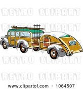Vector Clip Art of Retro Woody Sedan with Skis and a Trailer by Andy Nortnik