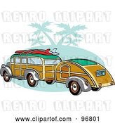 Vector Clip Art of Retro Woody Sedan with Surfboards on the Roof, Pulling a Trailer over Green with Palm Trees by Andy Nortnik